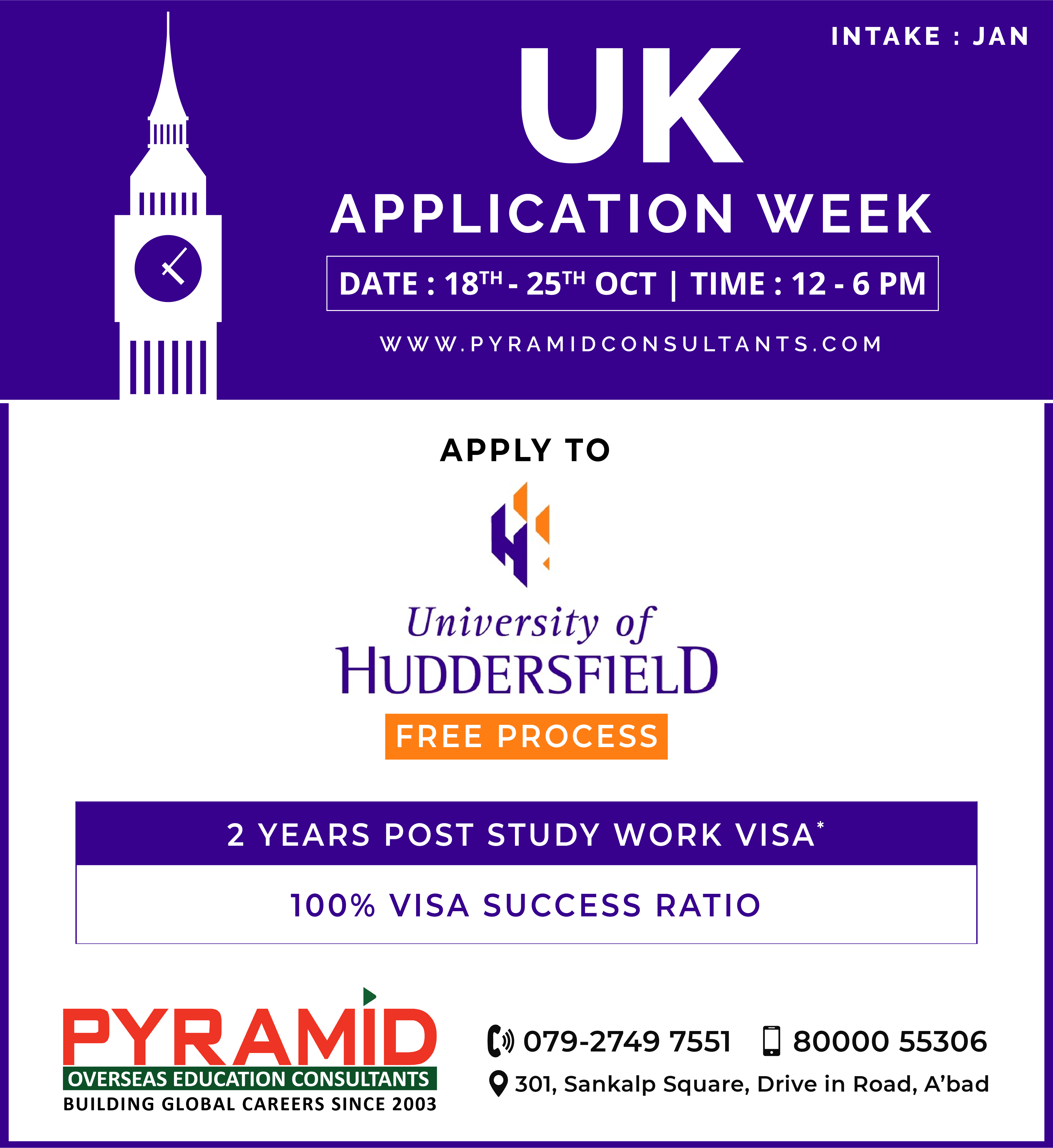 Study in UK Application Week Date 18th 25th Oct Time