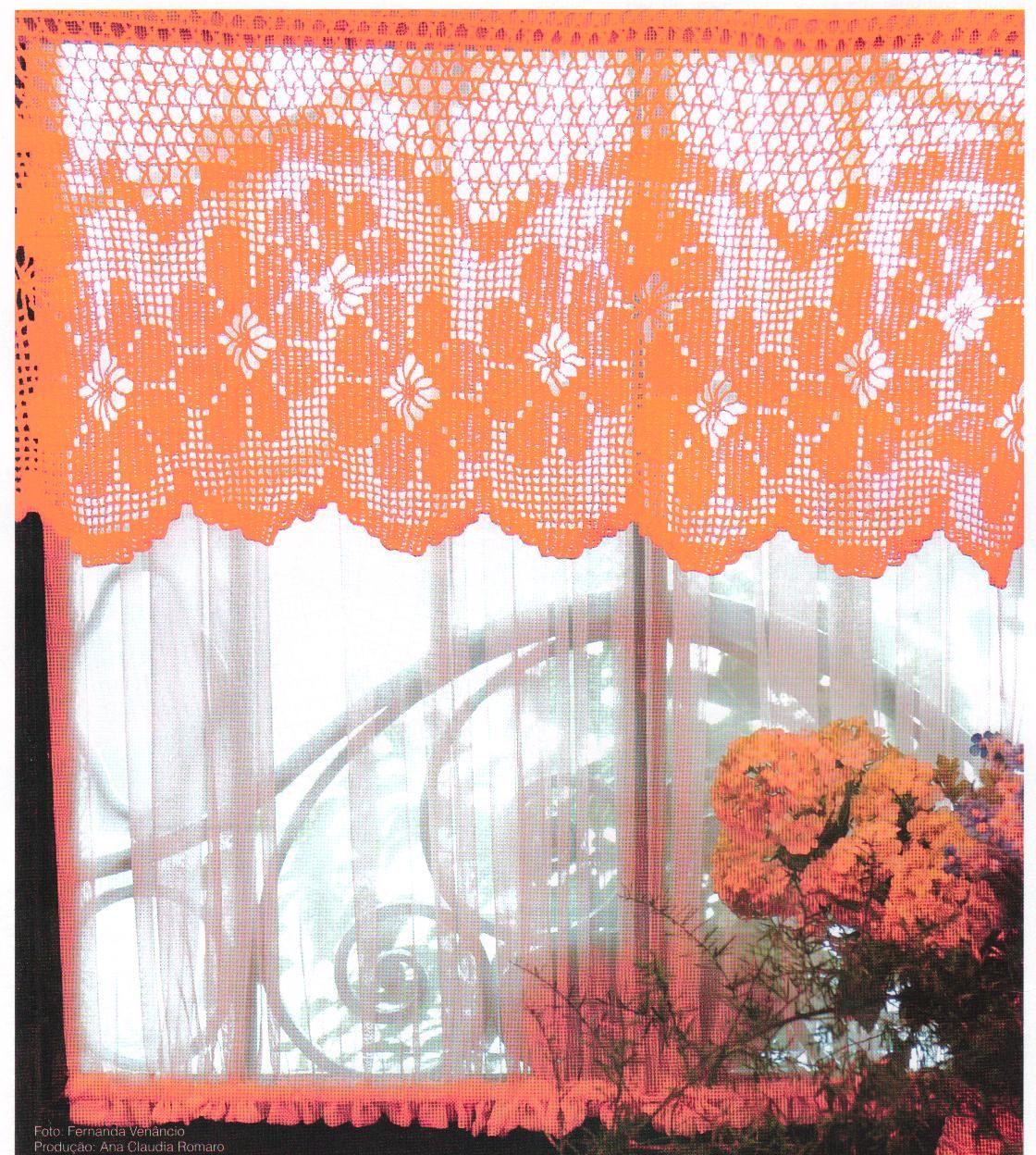 aghi Soeli e filo: arancione Curtain crochet
