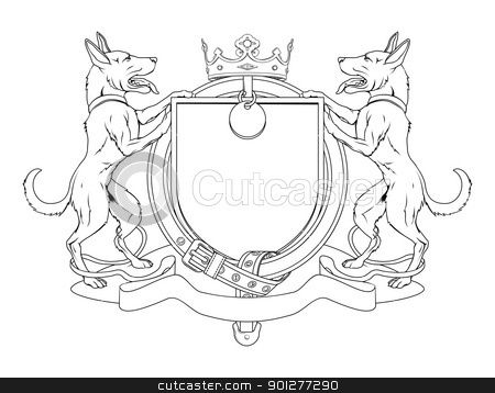 Dog Pets Heraldic Shield Coat Of Arms | Grooming Van Design Ideas