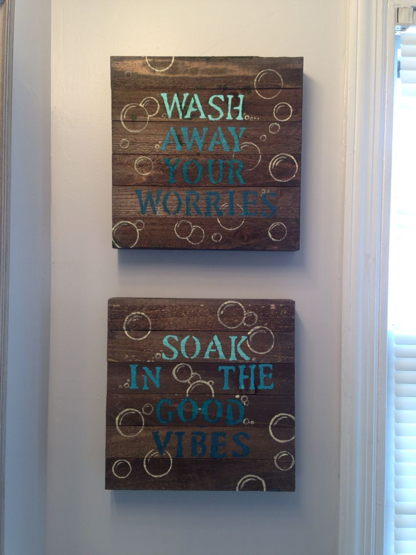 Blue diy bathroom wall decor 10 wood canvas from walmart Bathroom art ideas