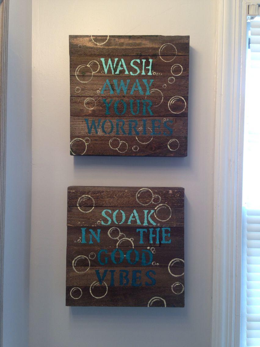 Blue diy bathroom wall decor wood canvas from walmart stencils