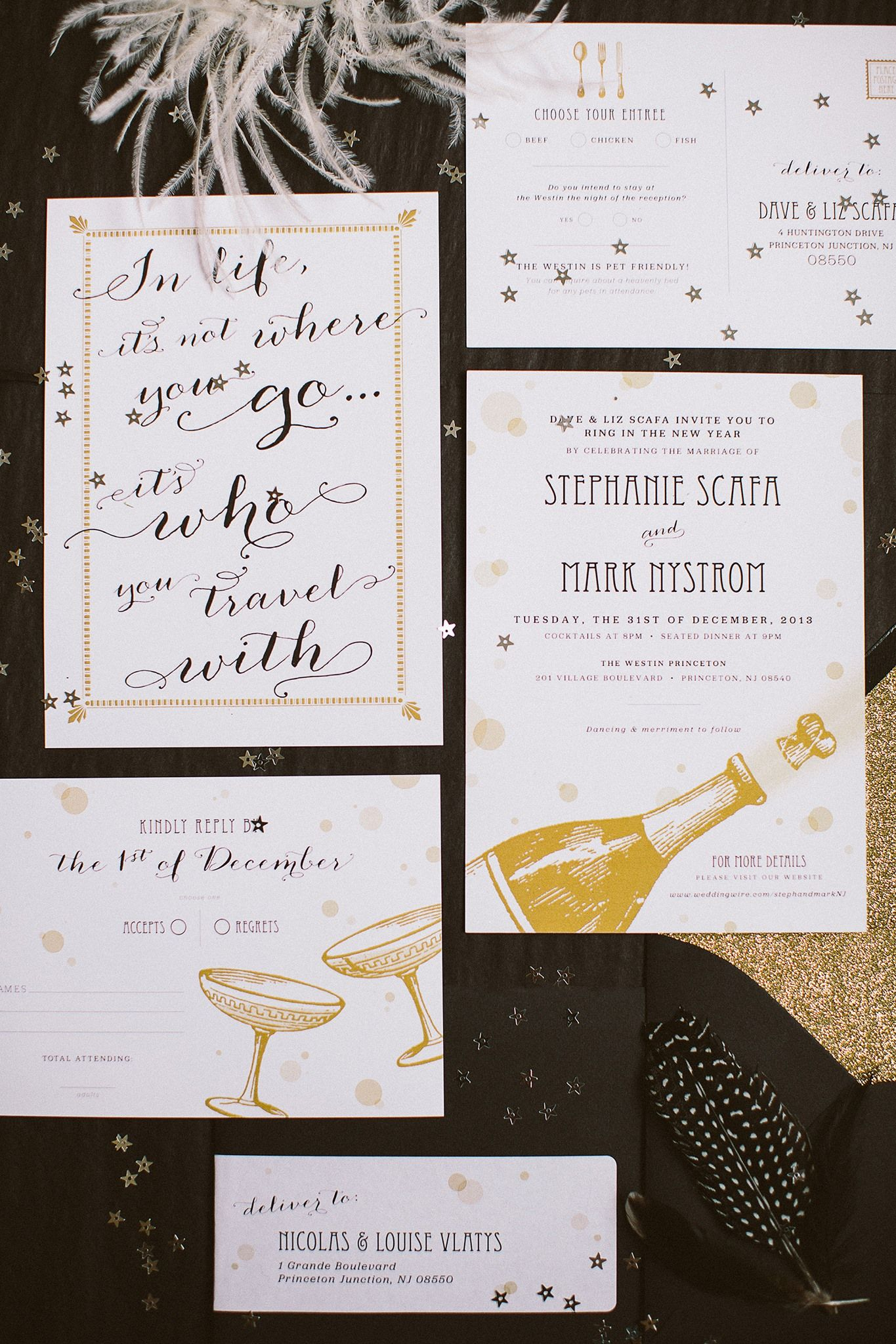elegant and glamorous love the gold custom new years eve wedding