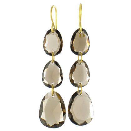 Boucles d'oreilles Iris en quartz fumé et or 20 carats. Pierre fine, poids or 0.77 g dimension : 5 cm