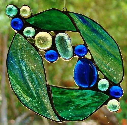 Christmas Abstract \u0027BLUE MOON\u0027 Suncatcher Hand Crafted Stained Glass