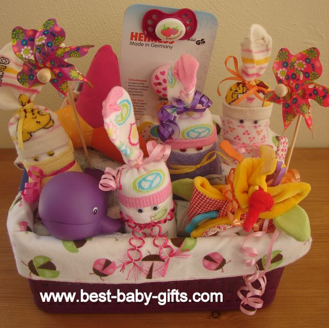Baby Gift Baskets To Make : Newborn baby gift basket for girl easy to make and