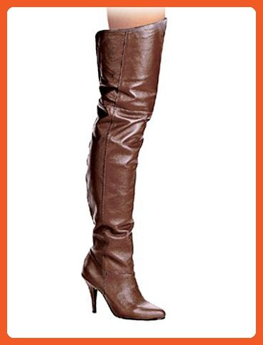 30965aed98ac2 Sexy 4 Inch Heel Brown Leather Thigh High Boot - 9 - Boots for women ...