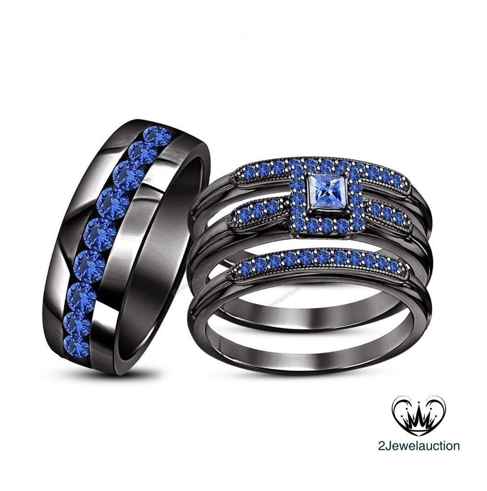 his her men womens sapphire trio rings set wedding bridal band