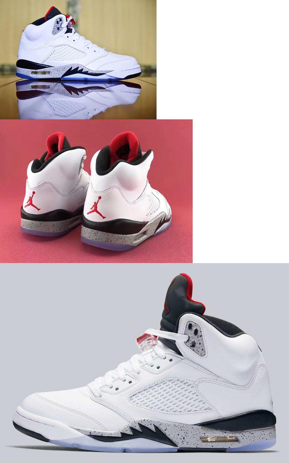 Boys Shoes 57929: Nike Air Jordan 5 Retro Sz 5.5Y White Cement Red Metallic