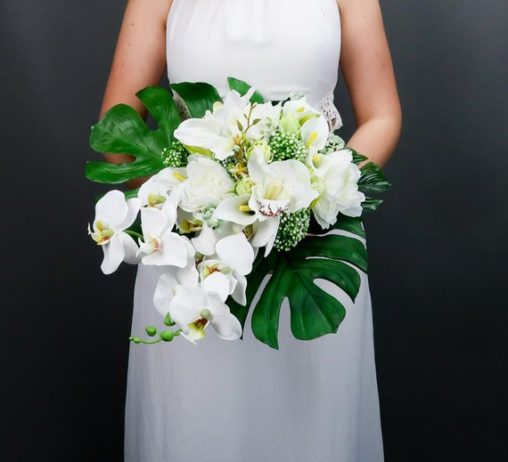 Tropical Wedding Bouquet With White Orchids And Greenery Etsy White Bridal Bouquet Tropical Wedding Bouquets Tropical Bridal Bouquet