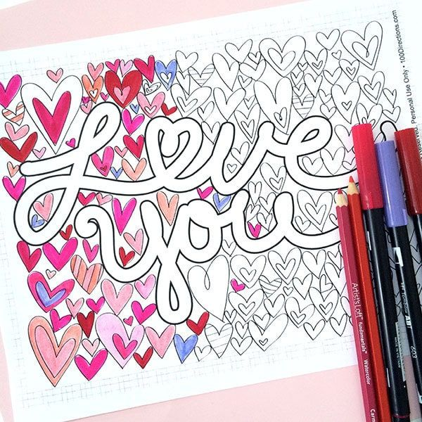 Heres A Pretty Little Love You Coloring Page Can Download