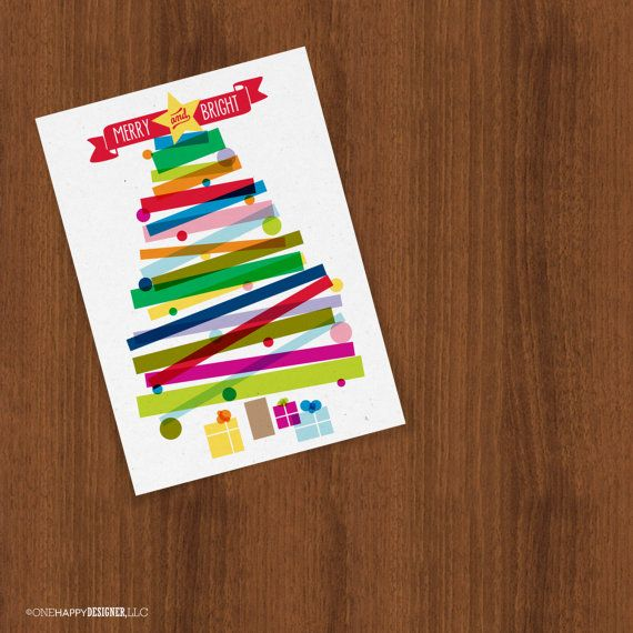 Merry & Bright Christmas Tree Holiday by OneHappyDesignerLLC