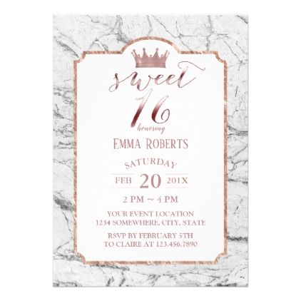 Sweet  Rose Gold Princess Crown White Marble Card  Invitations