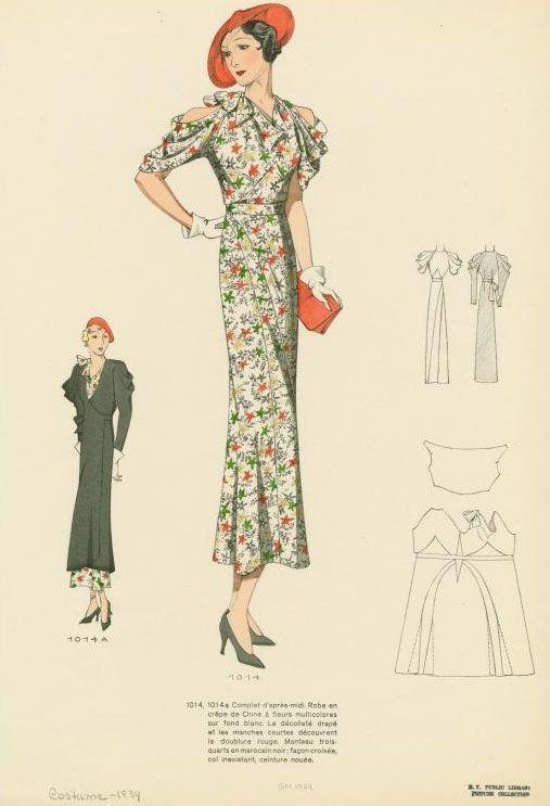 vintage esquisses et croquis mode ann es 1930. Black Bedroom Furniture Sets. Home Design Ideas