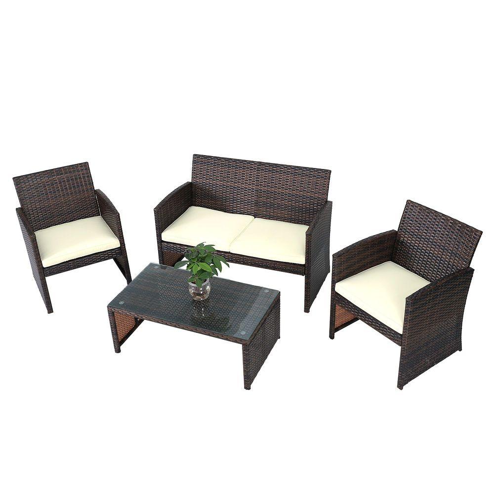 4 PCS Brown Wicker Cushioned Rattan Patio Set Garden Lawn Sofa ...