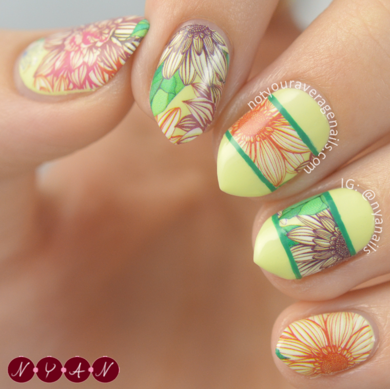 Nailpolis Museum of Nail Art | Floral Water Decals by Becca (nyanails)