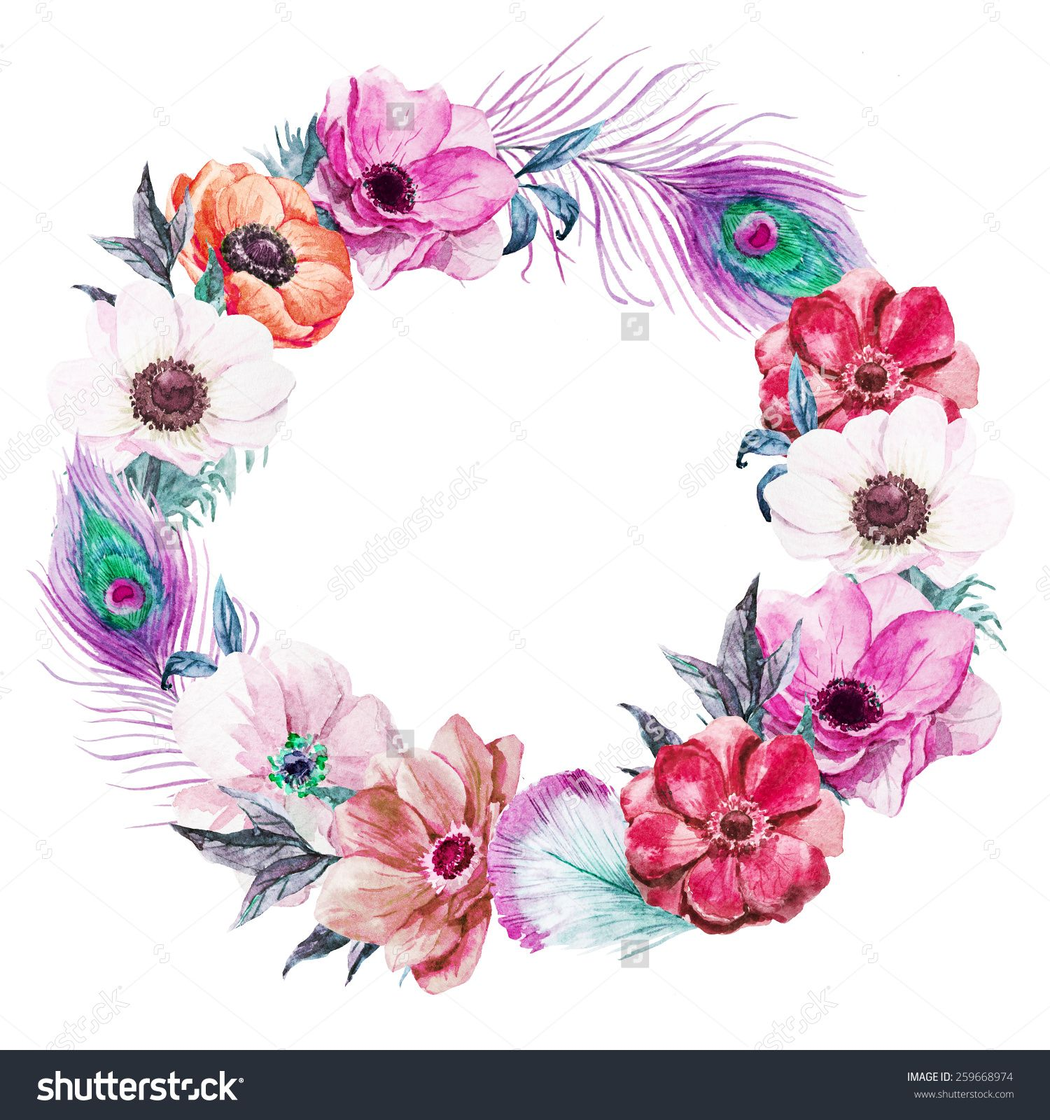 Black Flower Watercolor Art By Tae Lee: Boho Wreath Clipart - ClipartFest