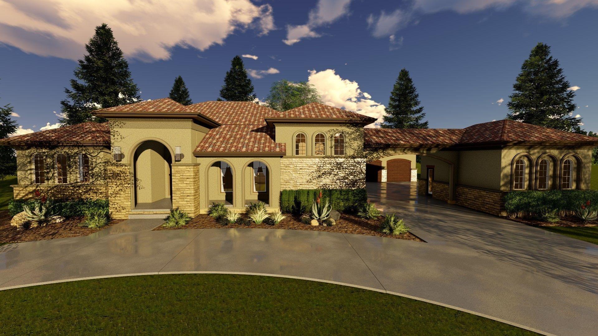 1 Story Mediterranean House Plan Lamplighter Mediterranean Homes Spanish Style Homes Mediterranean Homes Exterior