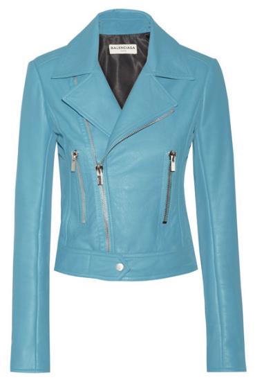 Blouson cuir bleu turquoise