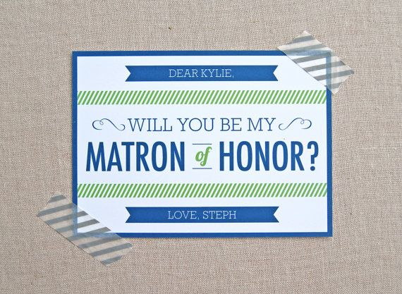 Will You Be My Matron Of Honor - Modern Wedding Card - Custom Colors  Text - Flat Greeting Card