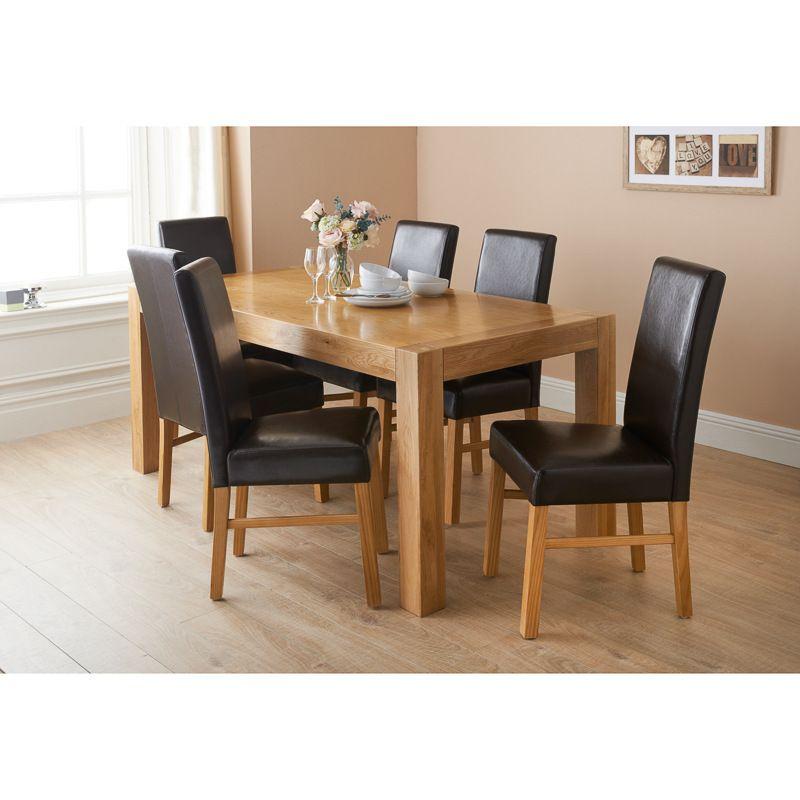 304459 newbury 7pce dining set oak dining setsdining tableleather - Oak Dining Table Set