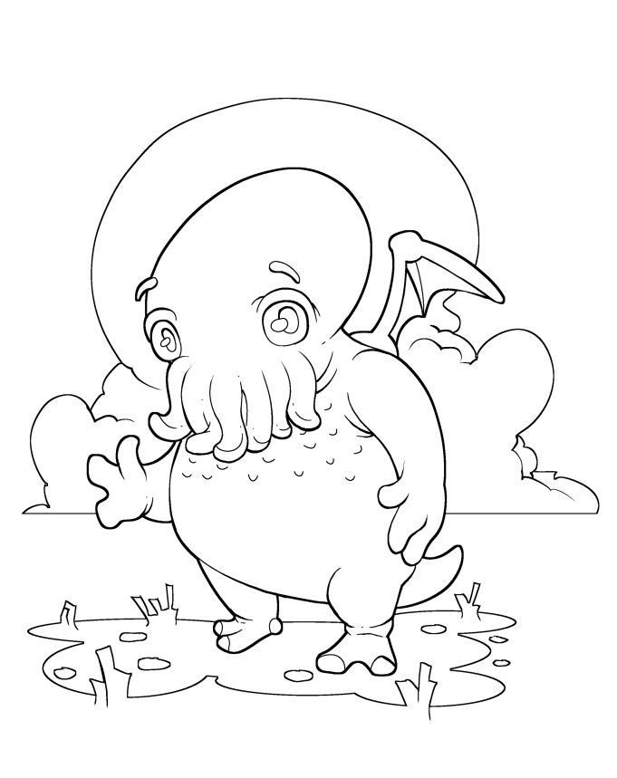 Free C Is For Cthulhu Coloring Sheet Coloring Pages Cthulhu Coloring Sheets