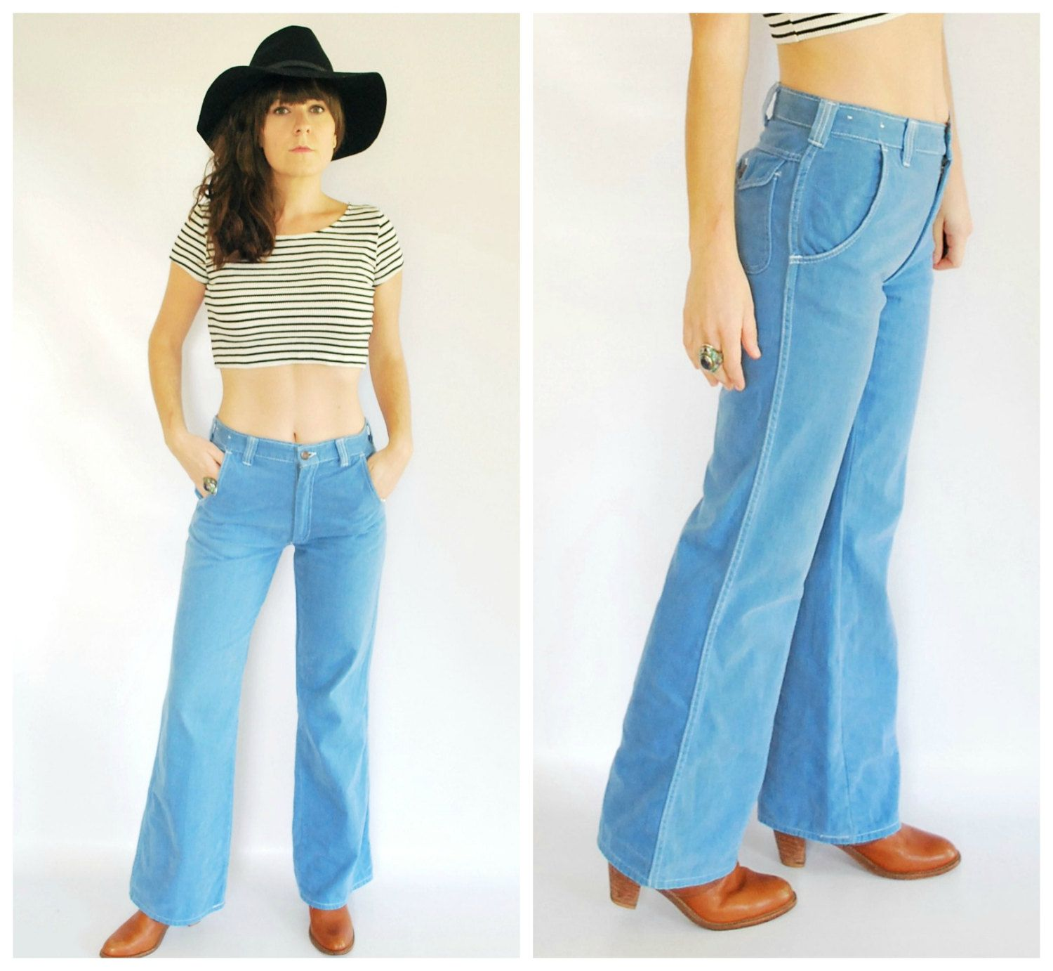 "60's Denim Flared Jeans - National Shirt Shops Pants - 28"" Waist by GoodSoulVintageMI on Etsy"
