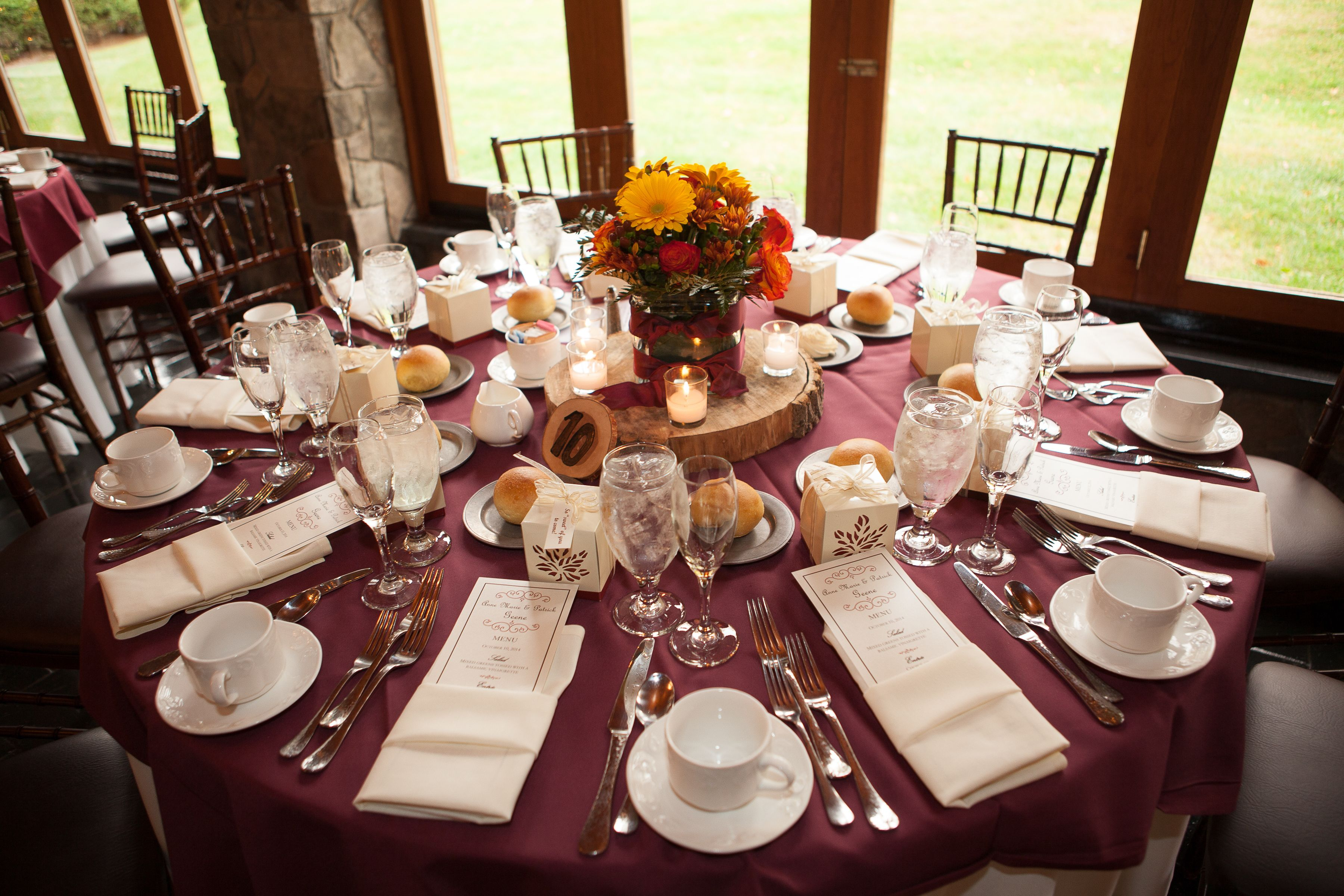 Reception Table Burgundy and Ivory Lines Fall wedding