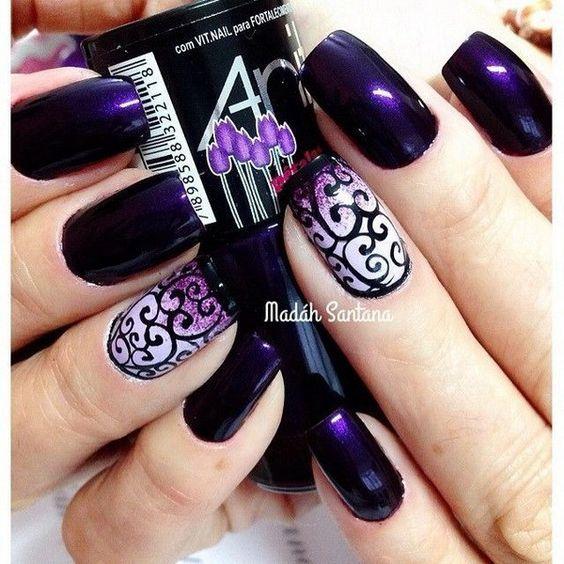Dark Purple Nails with Swirls Designs. http://forcreativejuice.com/chosen- purple-nail-art-designs/ - 30+ Chosen Purple Nail Art Designs Pinterest Dark Purple Nails