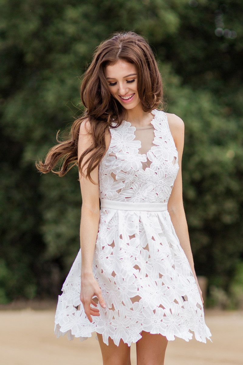 Katrina White Floral Lace Fit And Flare Dress Lace Dress Fit And Flare Dress Lace White Dress