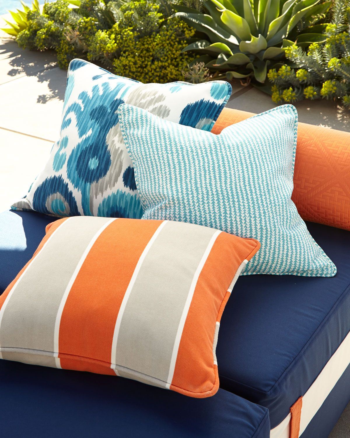 Orange and Turquoise Outdoor Pillows