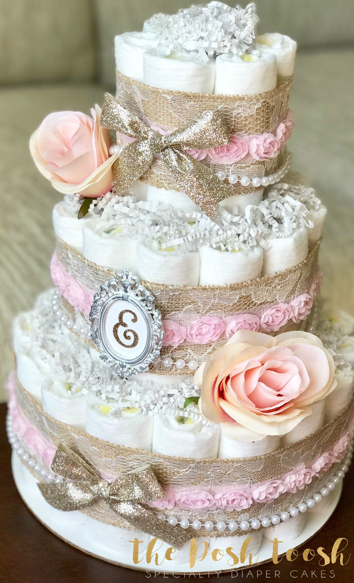 Shabby Chic Pink Gold Floral Diaper Cake, Baby Girl Pearl Burlap ...