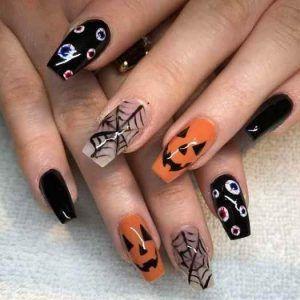 40 Halloween Nail Art Ideas Easy Halloween Nails Design In 2020 Halloween Nails Easy Cute Halloween Nails Halloween Nail Designs