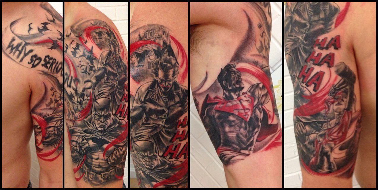 The Women Of Dc Comics Ink In Adam Withers S Dc Comics: Half Sleeve Tattoo Of Batman, Superman, Joker And Harley