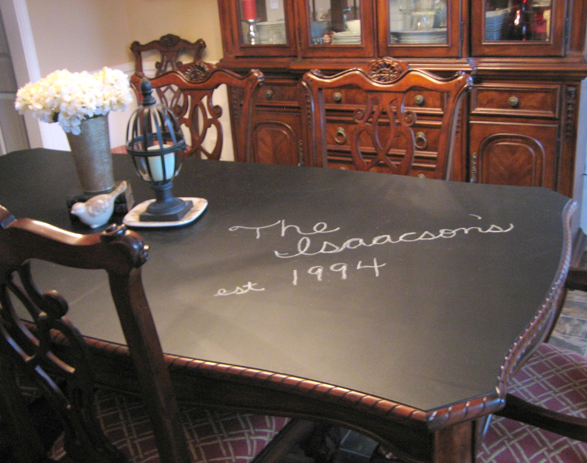 Thinking Of Doing This To Our Stained Scratched And Otherwise Discoloured Dining Room Table Dont Want Have Fuss With Re Painting The Legs Too