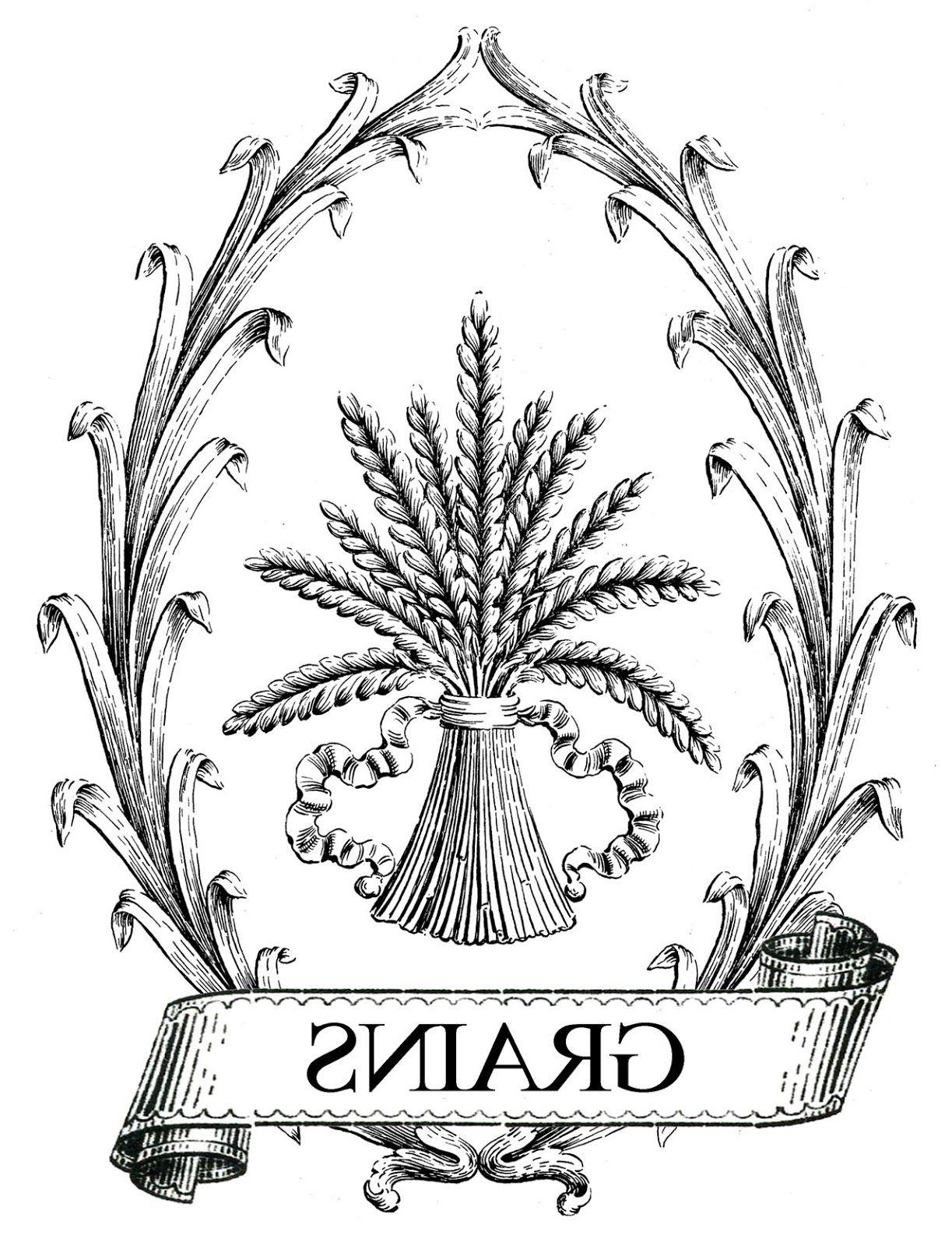 Printable Image Transfer French Grain Sack Wheat Prints