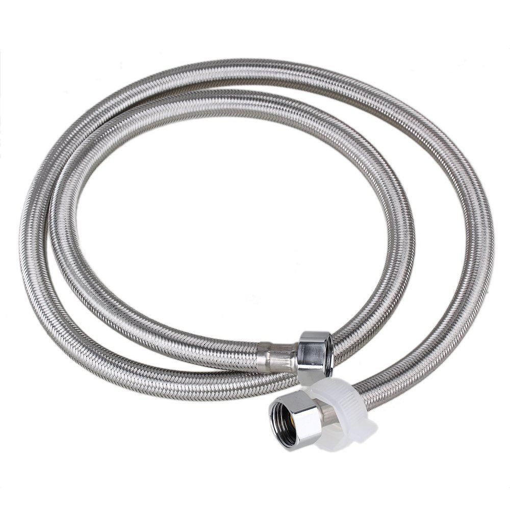 1 2m Length 19mm Inner Dia Thread Silver Stainless Steel Braided Hose Washing Machine Connector Water Heaters Hose Replacement Braided Hose Water Heater Plumbing