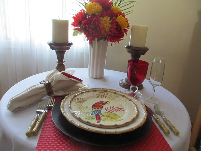 Pat set a fun table this week using a simple Juliska \ Classic Bamboo\  dinner plate paired with an inexpensive \ parrot\  accent plate from Pie. & Table for One: Bamboo and Parrot Table | Tablescapes Everyday ...
