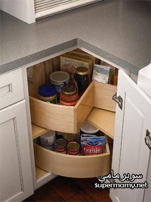 افكار وحلول ذكيه للاستفاده من خزانات ودواليب وارفف المطابخ الصغيره ديكور المنازل والفيلات Kitchen Corner Kitchen Cabinetry Kitchen Storage