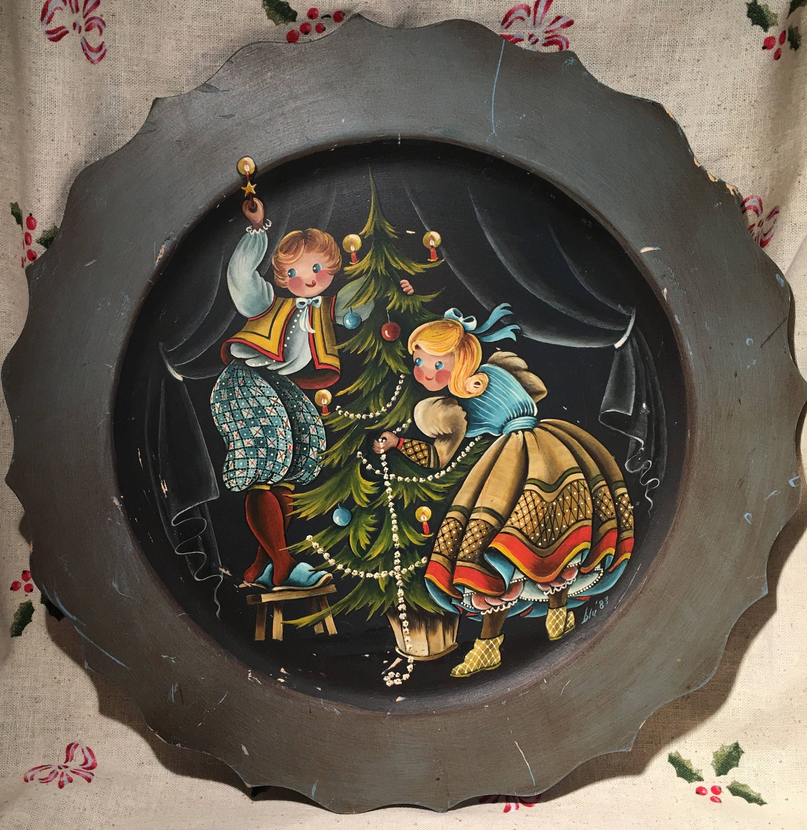 Tole Painted Christmas Wall Plaque Handpainted Christmas Scene