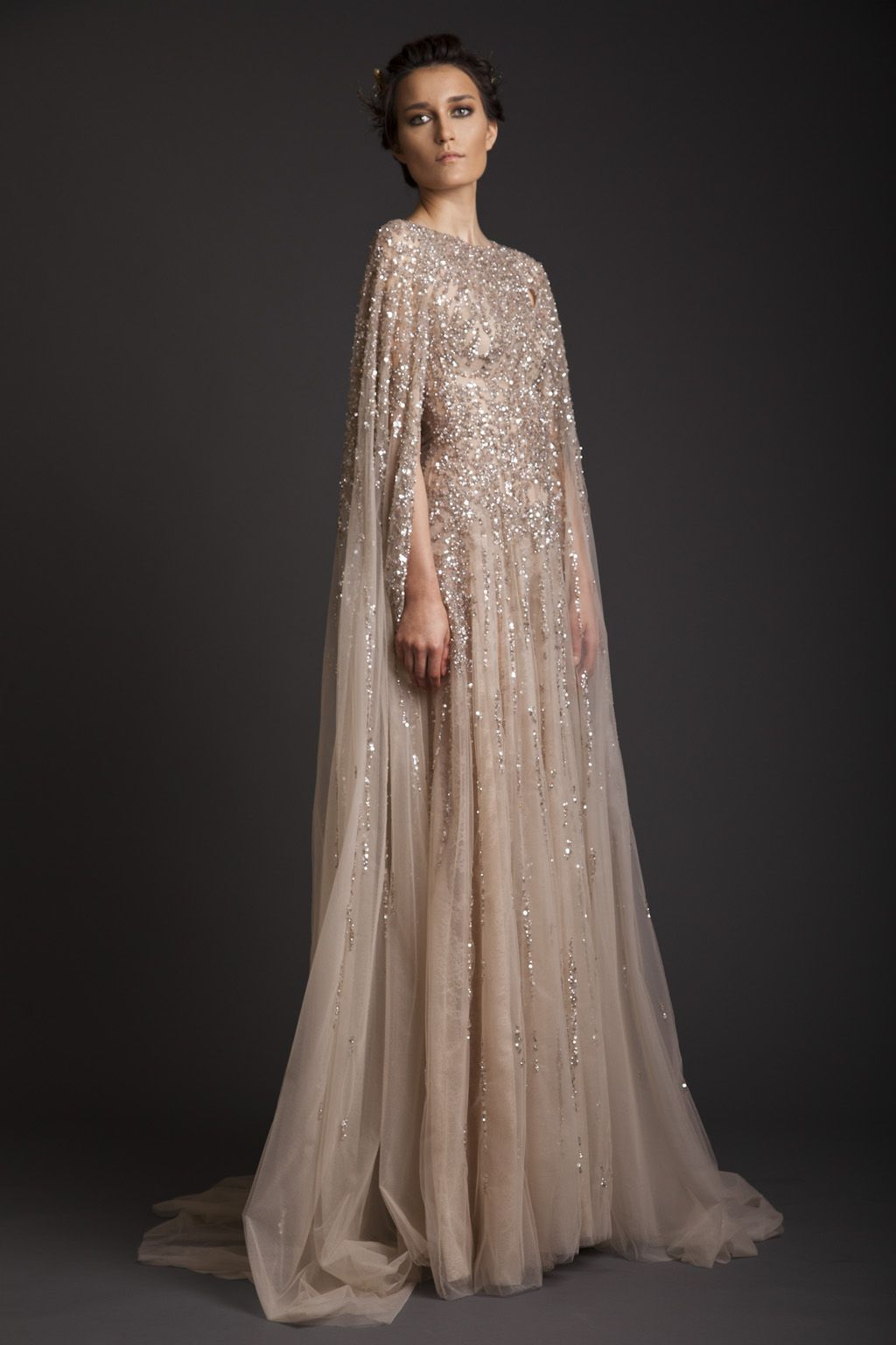 Color embroidered wedding dress  Long beige Dress with golden color embroidered You can order it