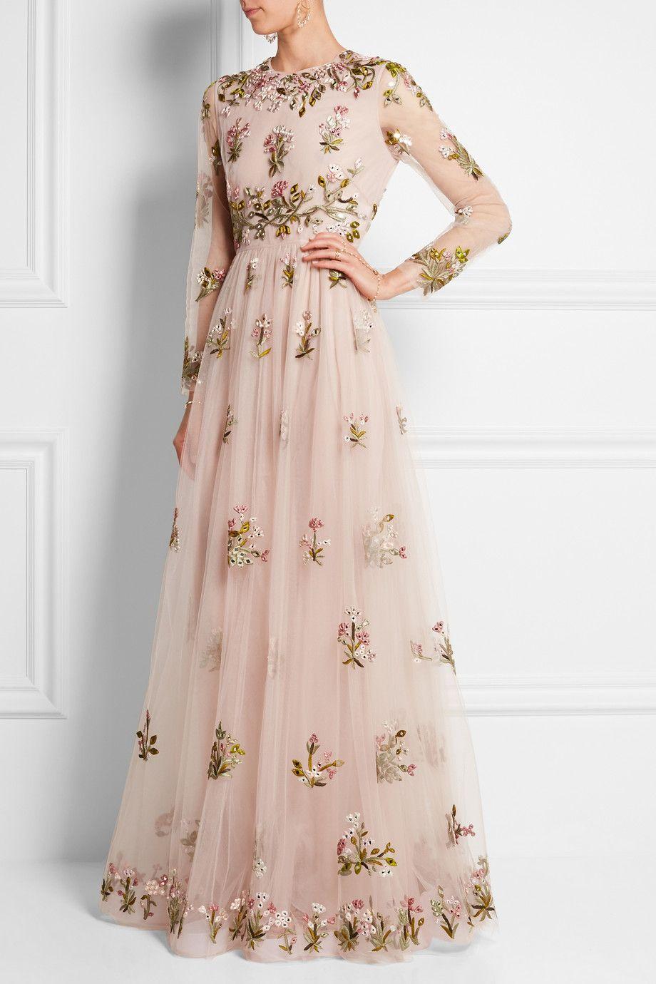 Valentino robe longue du soir en tulle à broderies et ornements