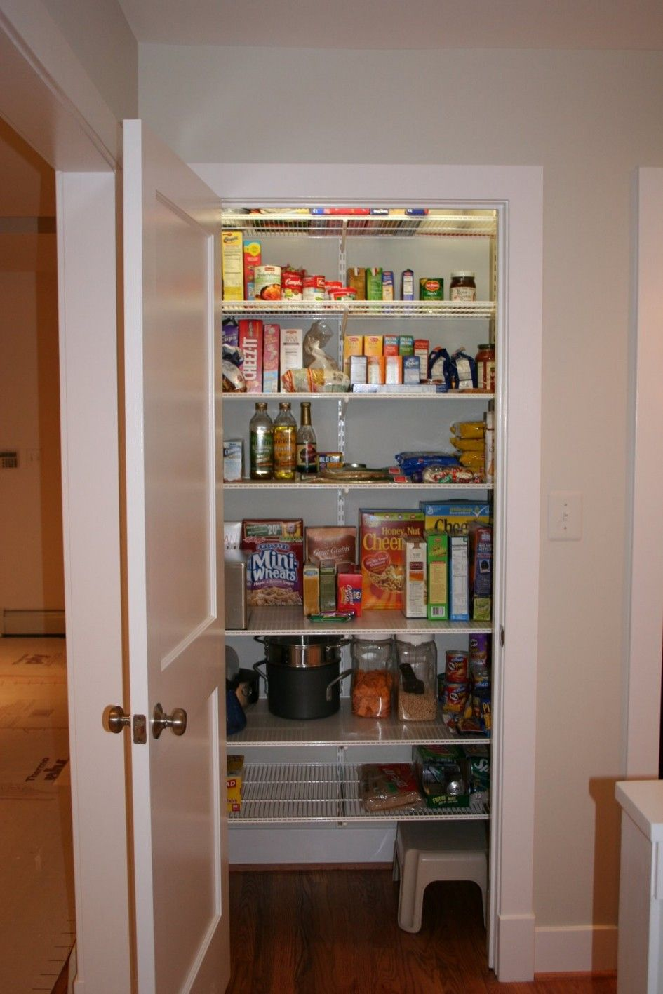 Kitchen Pantry Shelving Systems Concrete Floor Storage Awe Inspiring Closet With Wall Mounted Wire On Adjustable Shelf Brackets Also Plastic