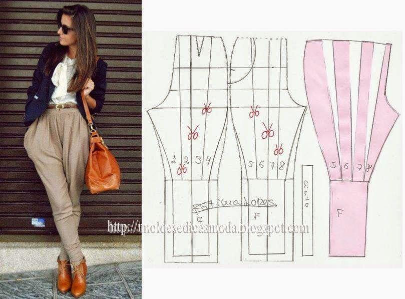 TRANSFORMAÇÃO DE CALÇAS-1 ~ Moldes Moda por Medida | Clothing ...