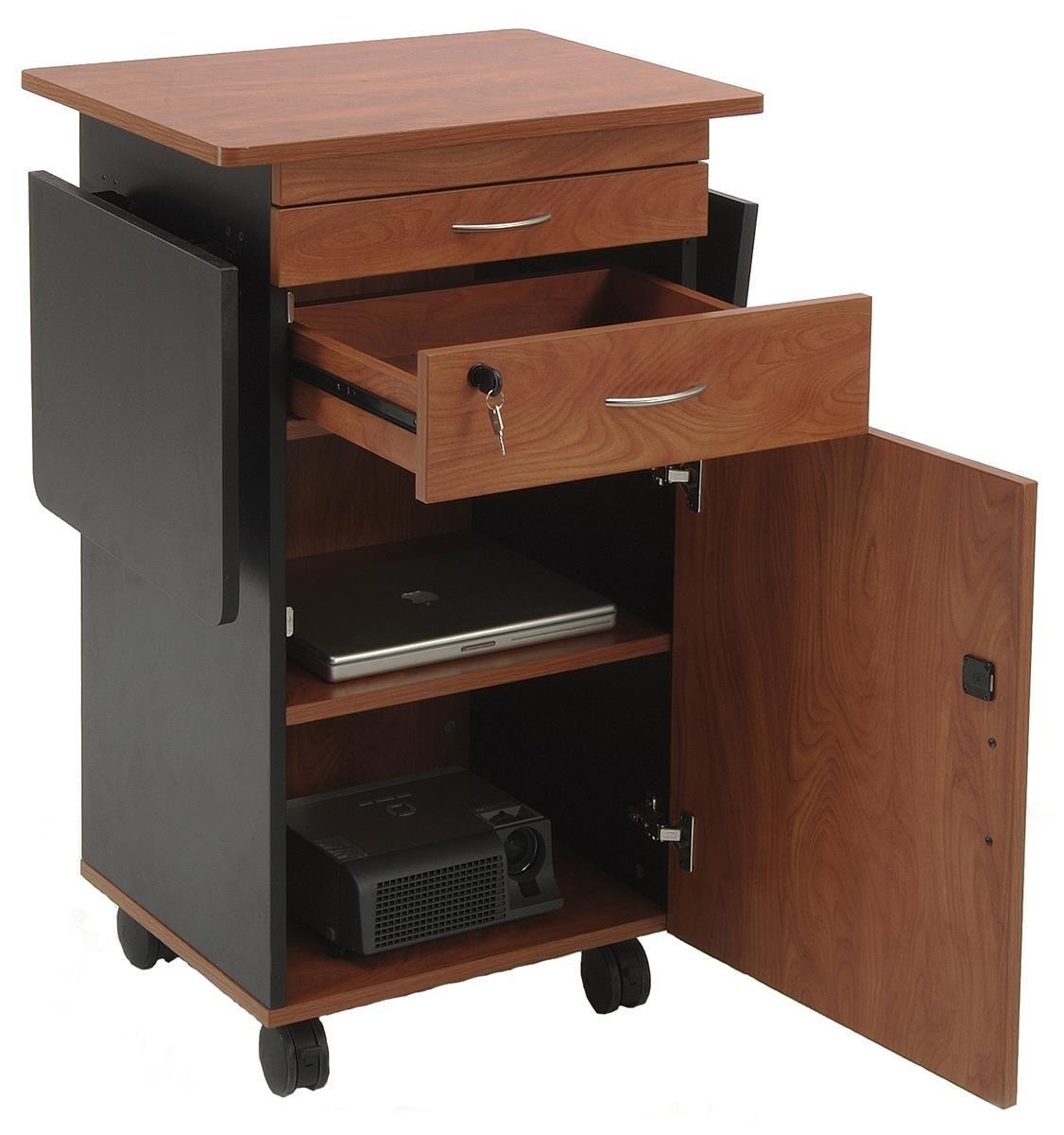 Multimedia Podium With Storage Cabinet Laptop Tray And Side Shelves Cherry Storage Laptop Tray Adjustable Shelving
