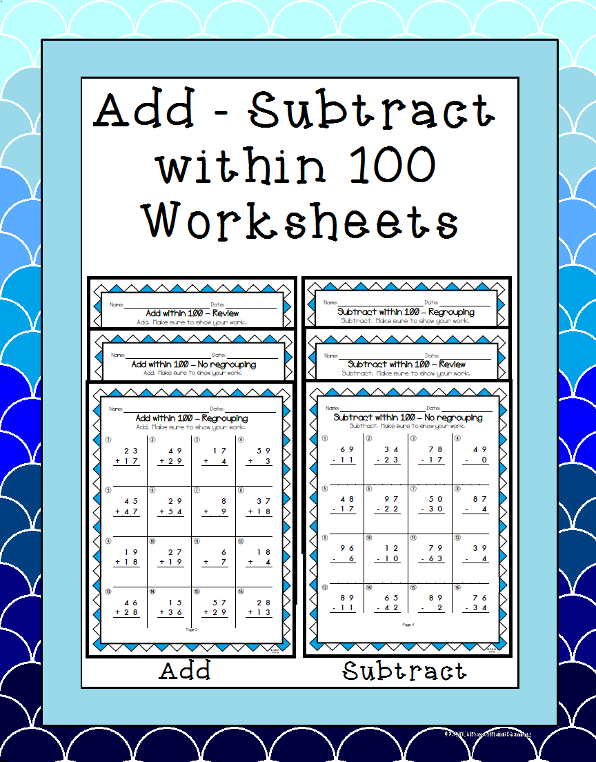 Adding And Subtracting Within 100 2 Nbt 5 Worksheets