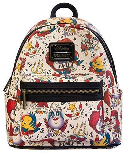 ed7afce33dc Disney The Little Mermaid Tattoo Vegan Faux Leather Mini Backpack by  Loungefly