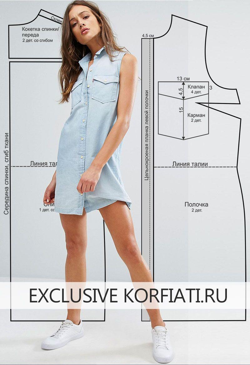 d0f65e8567b Выкройка платья-рубашки без рукавов от Анастасии Корфиати
