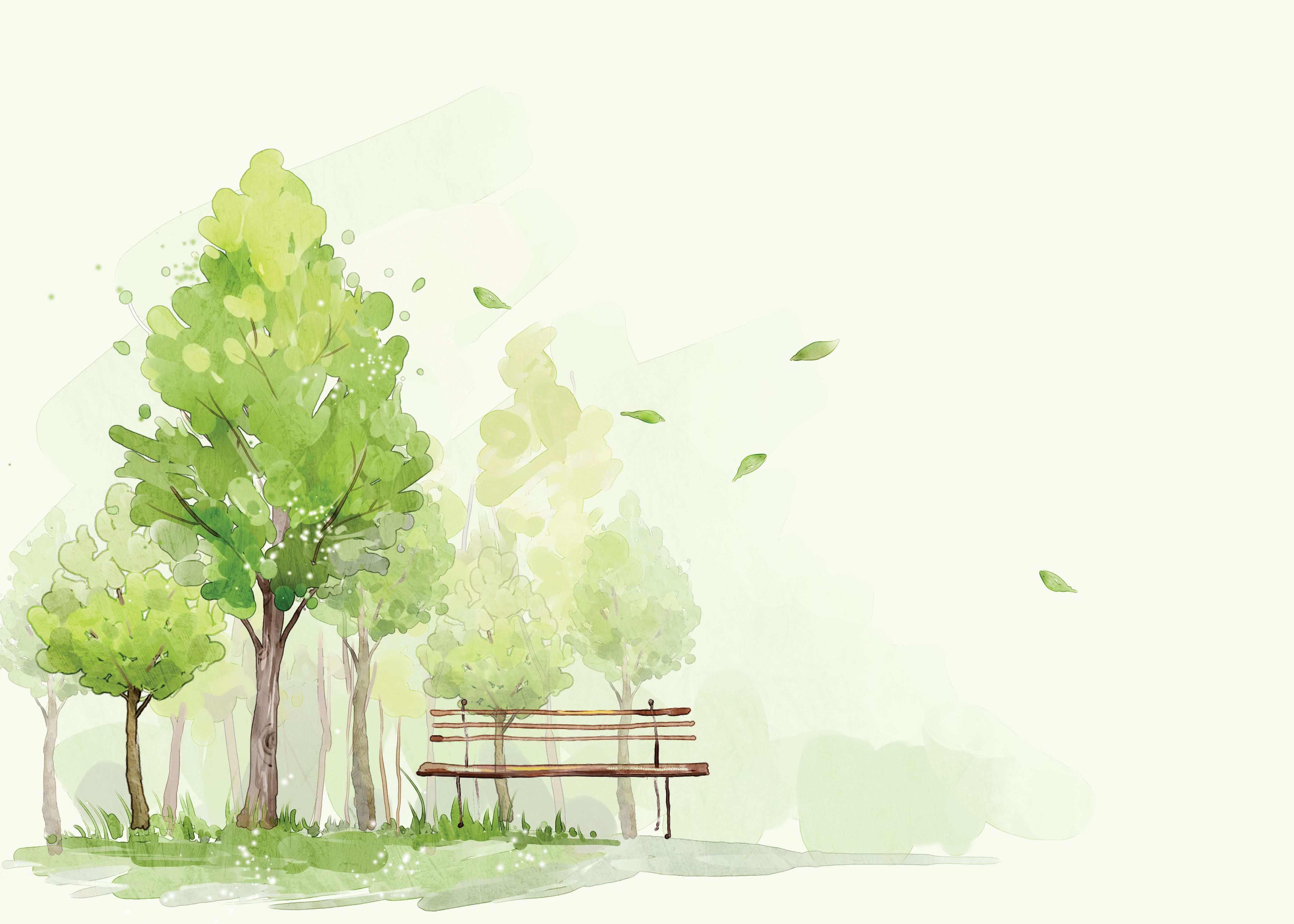 Cartoon Green Trees Background Green Trees Painting Green
