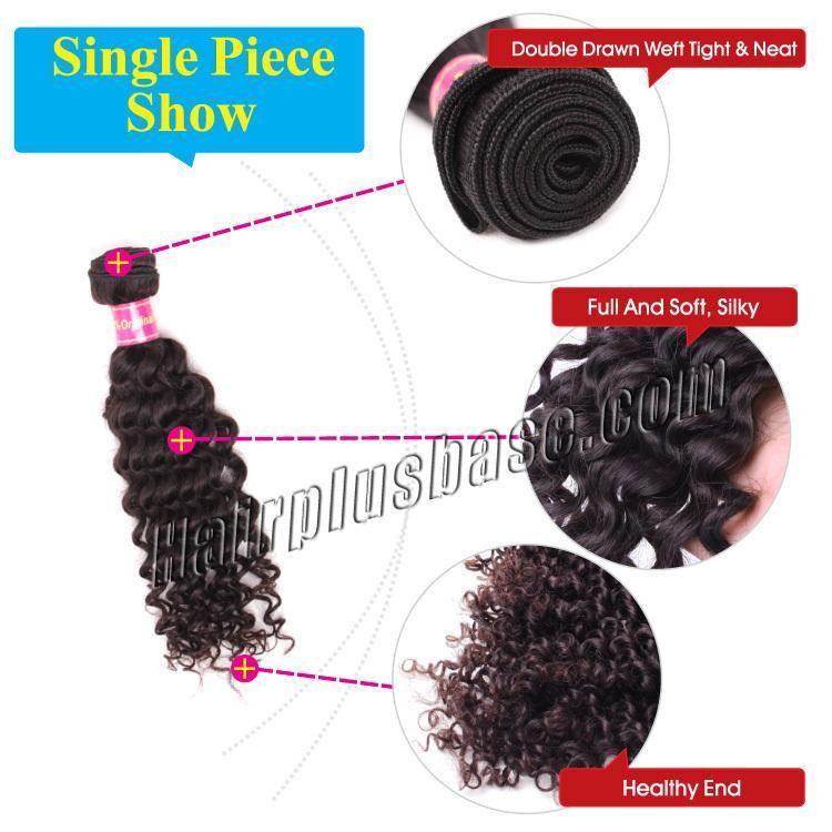 10 Inch - 34 Inch Brazilian Virgin Hair Curly #1B Natural Black 1pc/Lot Type:Brazilian Virgin Hair Color:#1B Natural Black Texture:Curly Quantity:1pc/lot (100g)