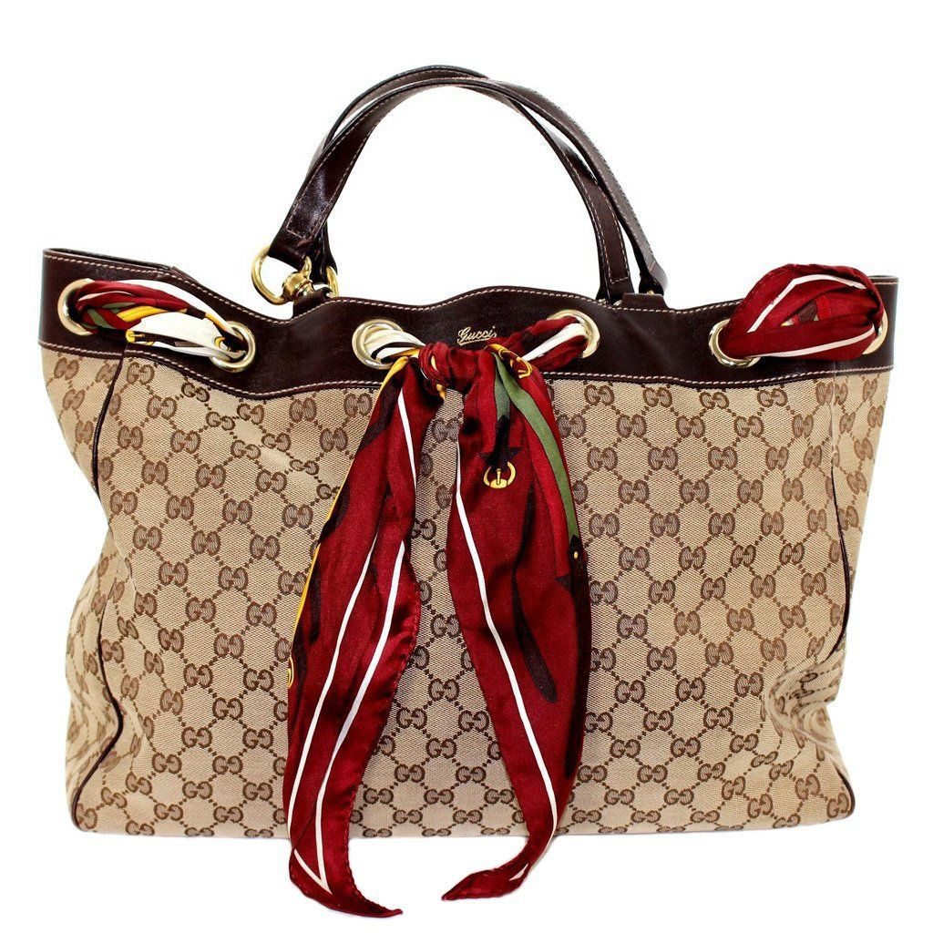 Gucci Canvas Art Positano Scarf Tote In Beige At 1stdibs